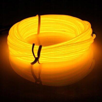 LyTec – neon giętki, kabel świecący, przewód elektroluminescencyjny, 4,5 mm, podwójny żółty
