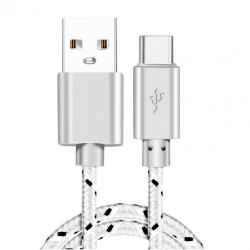 Kabel nylon biały. USB NA usb-C