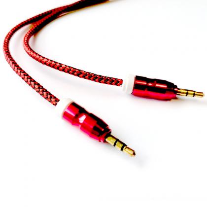 Kabel 2x Mini Jack 3,5 mm nylon   Przedłużacz AUX czerwony, 2 m