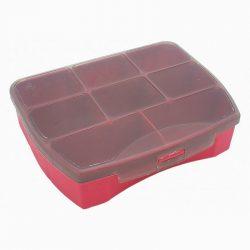Organizer czerwony 8 przegródek na śrubki, kołki, koraliki