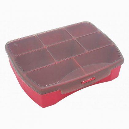 Organizer   Pojemnik   Pudełko na śrubki i drobiazgi – 8 przegródek – czerwony