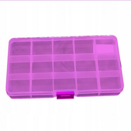 Organizer   pojemnik   pudełko na śrubki na zatrzask- 15 przegródek, fioletowy